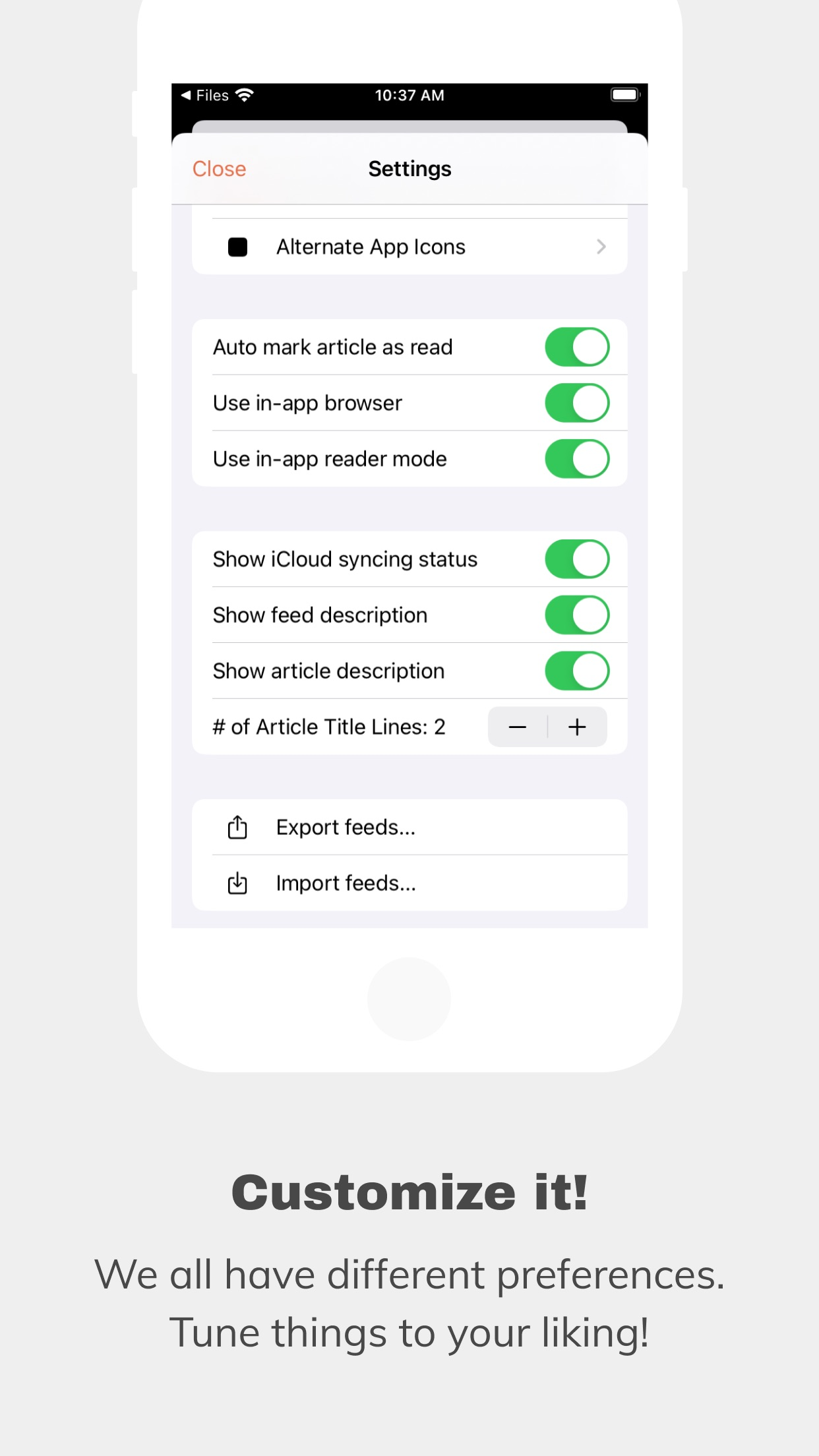 Screenshot do app An Otter RSS Reader
