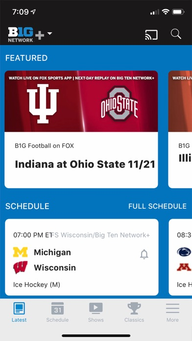Big Ten Network+ Screenshot