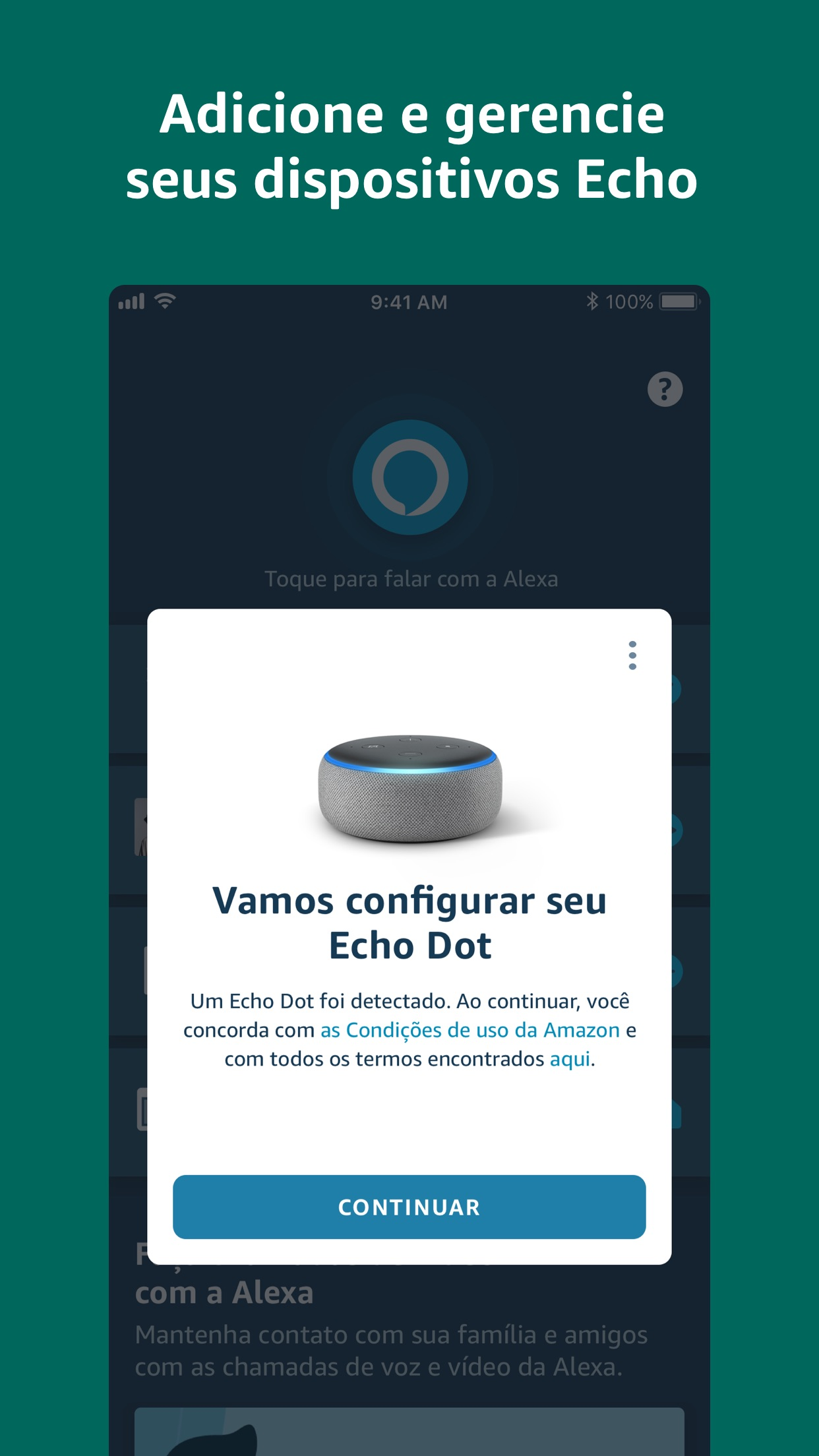 Screenshot do app Amazon Alexa