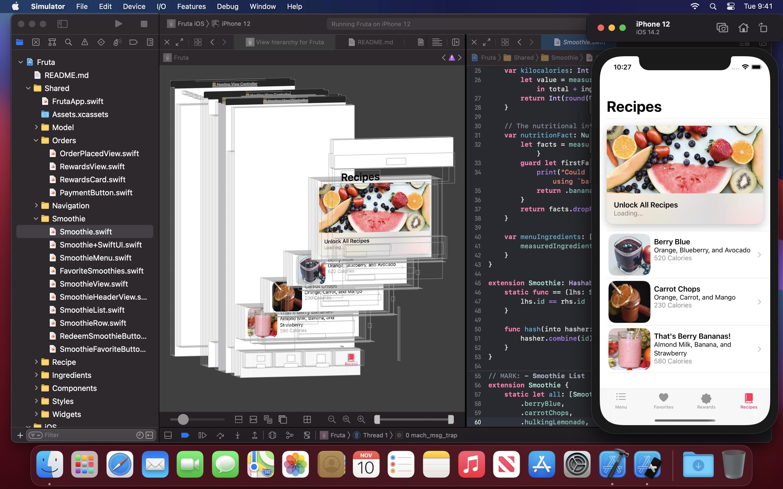 Screenshot do app Xcode