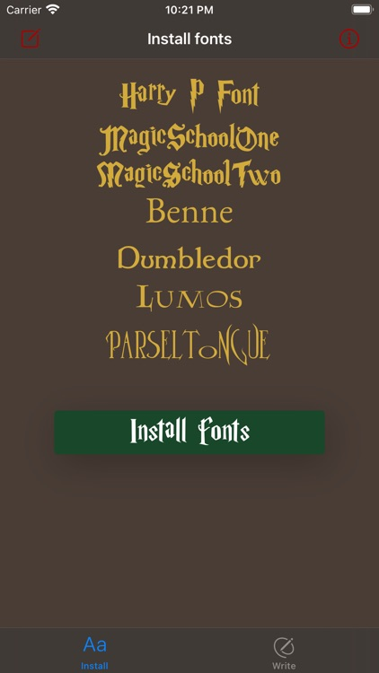 Install & write Fonts Harry P.
