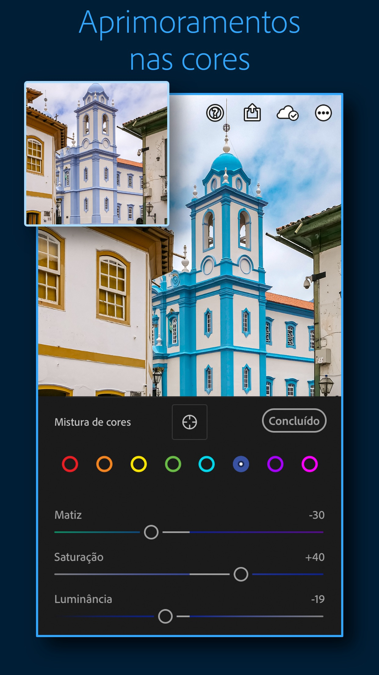 Screenshot do app Adobe Lightroom: Foto Editor
