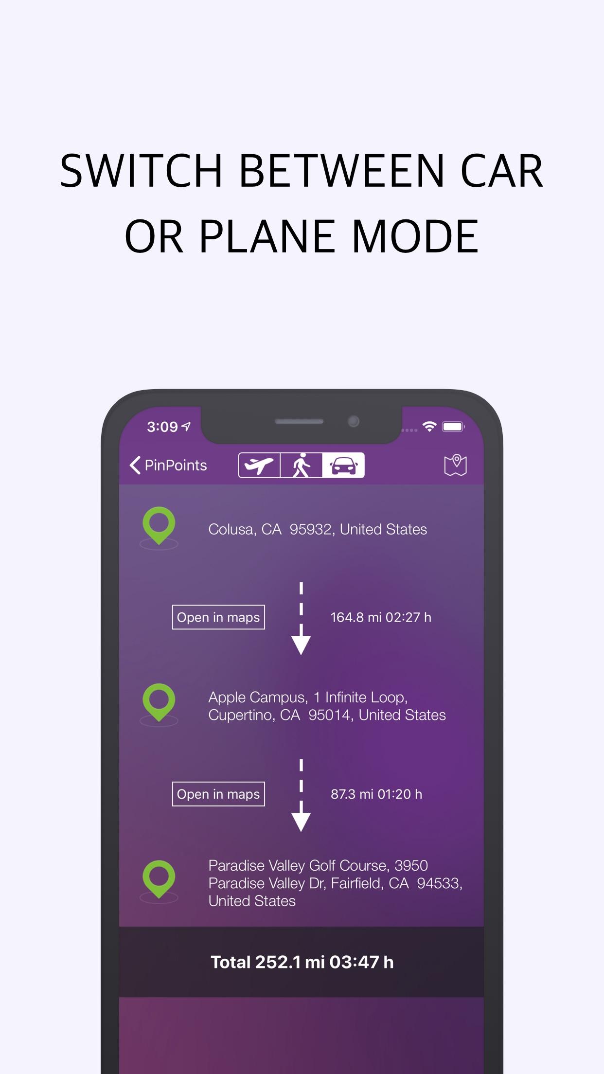 Screenshot do app Pin Points Distance Calculator