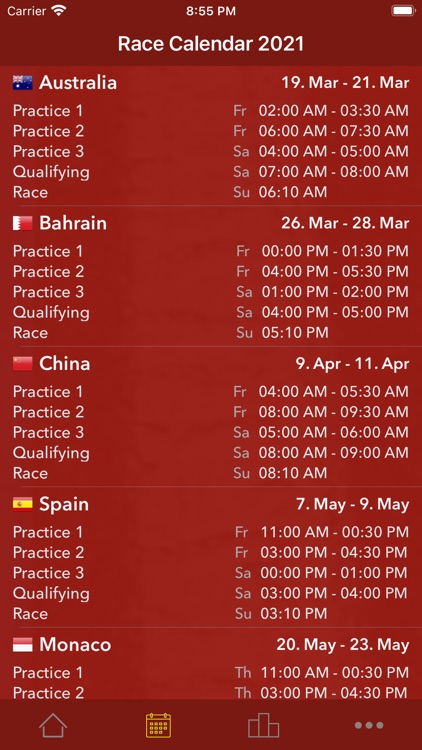 Race Calendar 2021