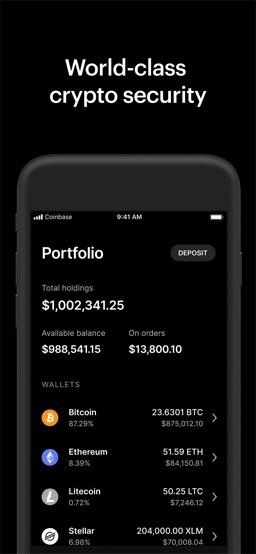 Coinbase Pro app screenshot