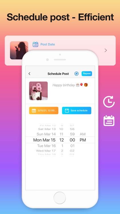 Repost for Instagram +Schedule