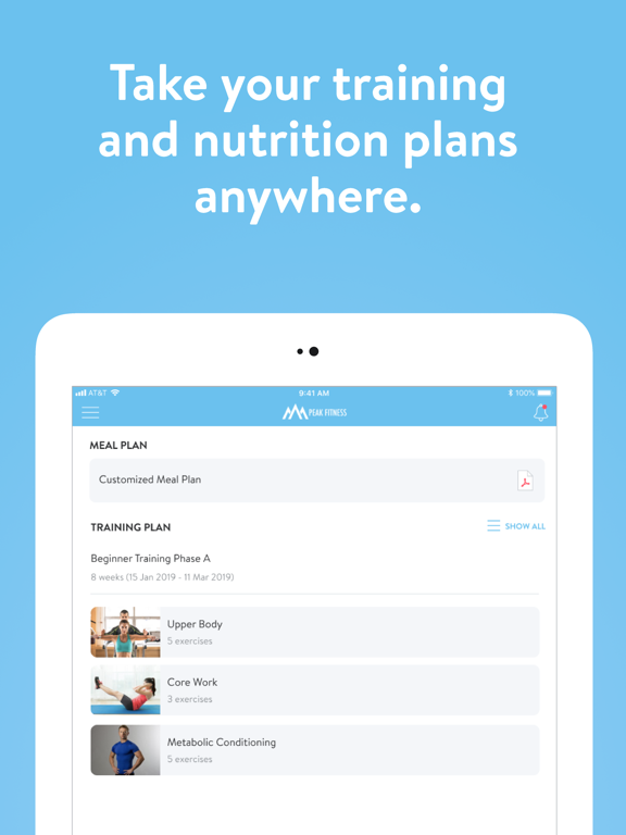 Ipad Screen Shot Peak Fitness App 1
