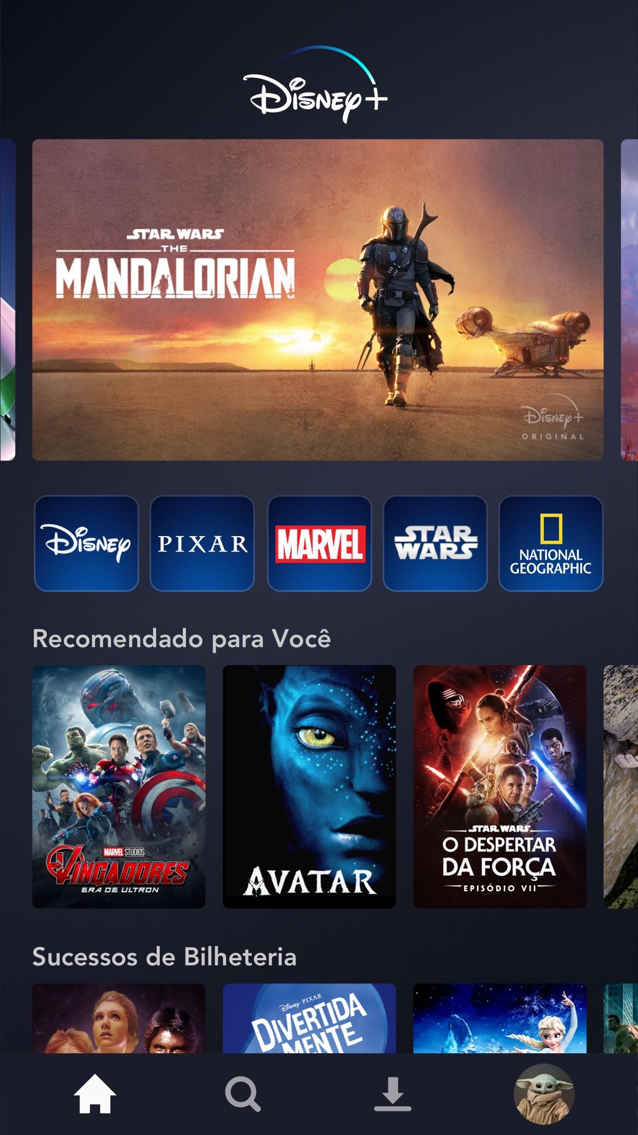 Screenshot do app Disney+
