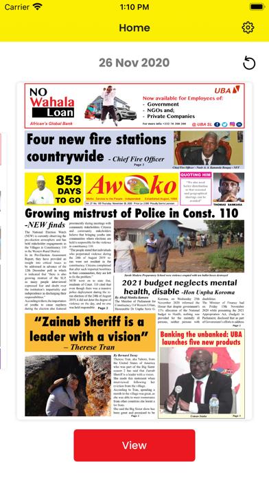 Awoko E-News paper screenshot 1