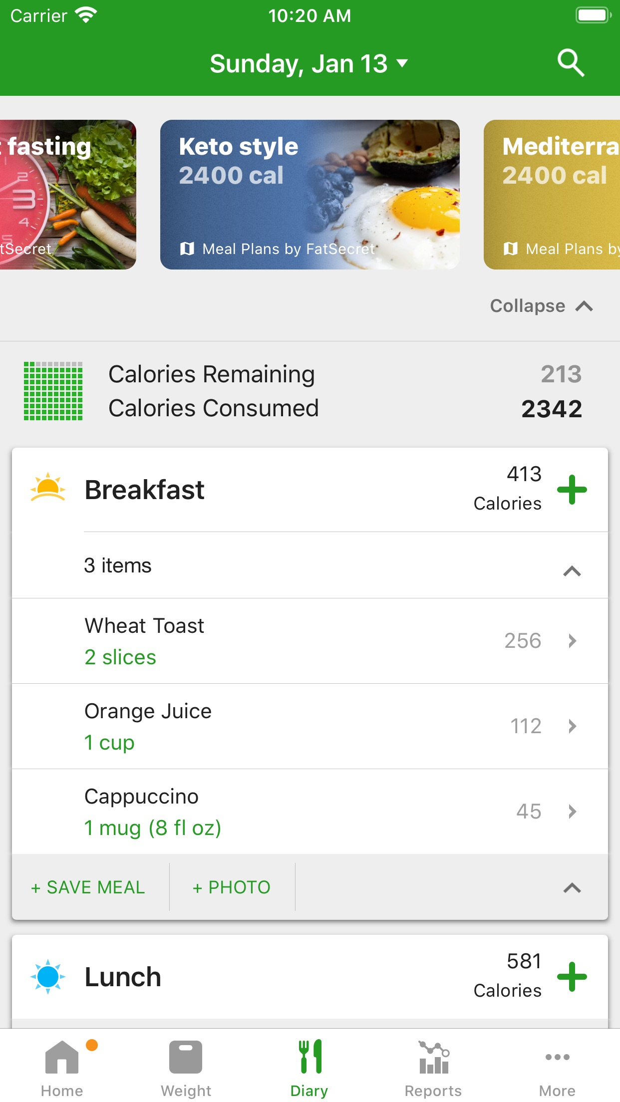 Calorie Counter by FatSecret Screenshot