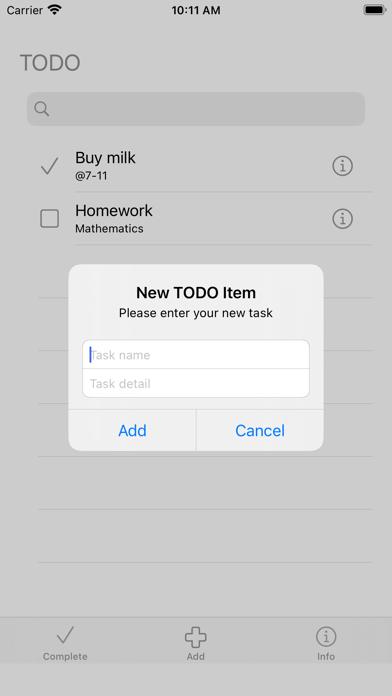 TODO list togo Screenshot
