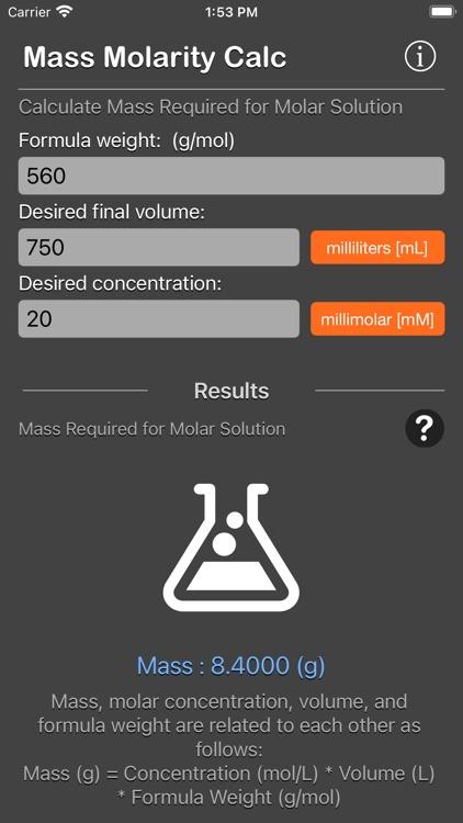Mass Molarity Calculator screenshot-8