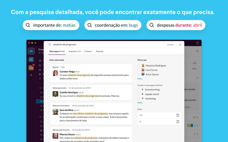 Screenshot do app Slack for Desktop