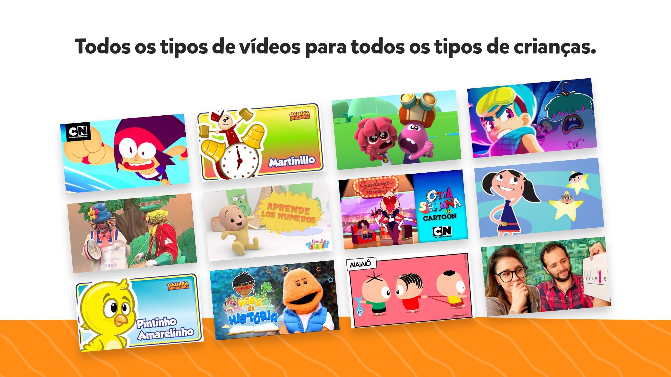 Screenshot do app YouTube Kids
