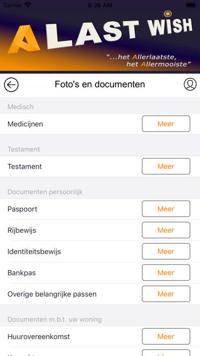 Screenshot of A Last Wish App