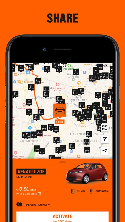 SIXT rent share & taxi