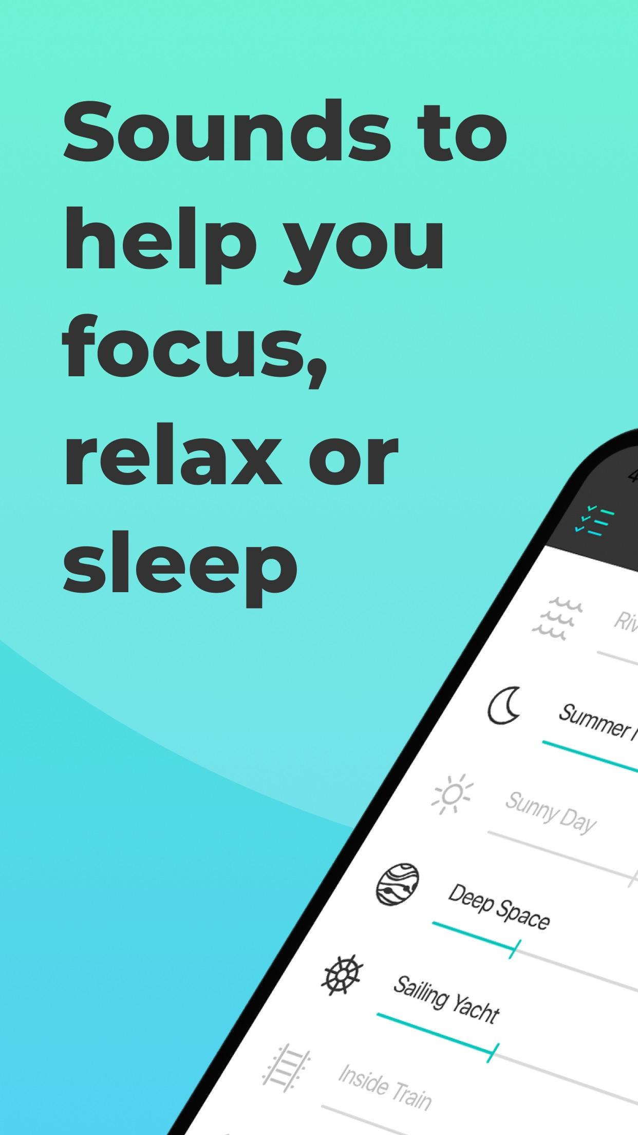 Screenshot do app Noizio — focus, relax, sleep