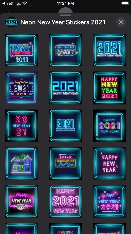 Neon New Year Stickers 2021