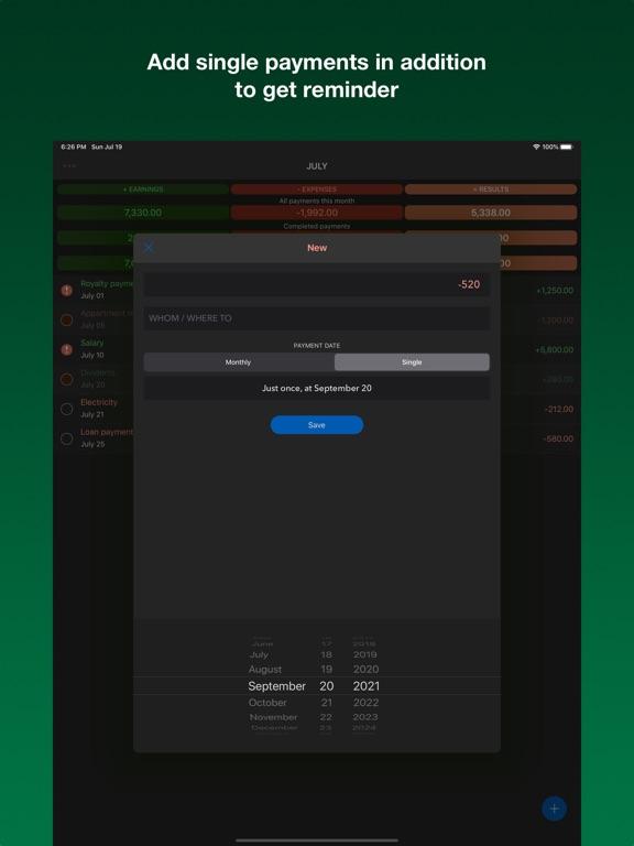 Payments reminder Screenshots