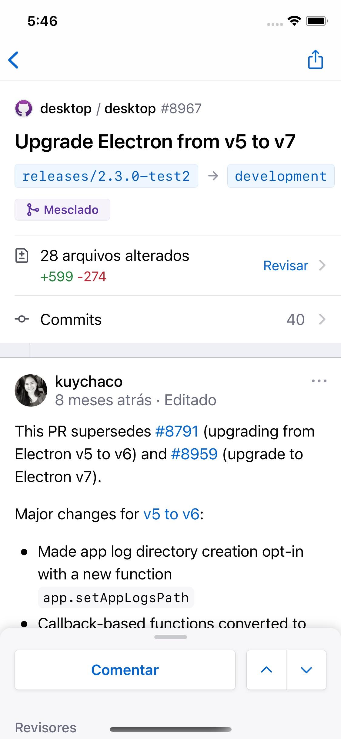 Screenshot do app GitHub