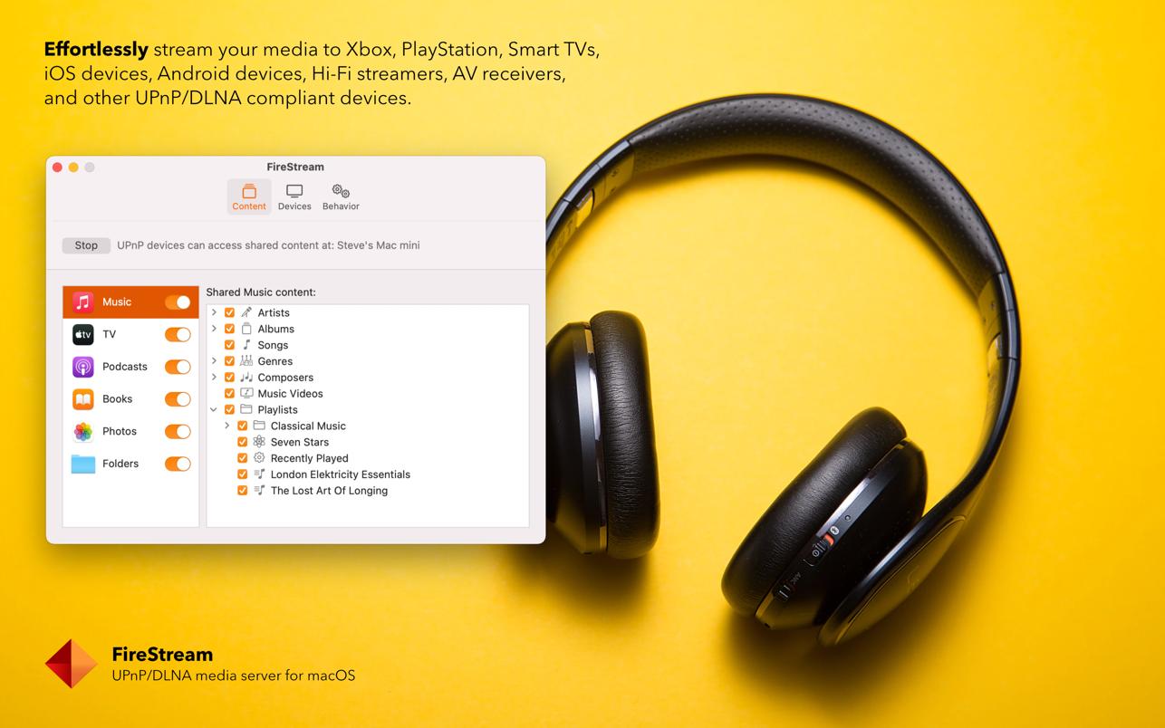 FireStream 2.0 Mac 破解版 优秀的UPnP/DLNA媒体服务器