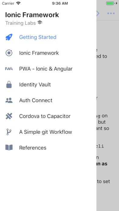 Ionic Training Labs Screenshot