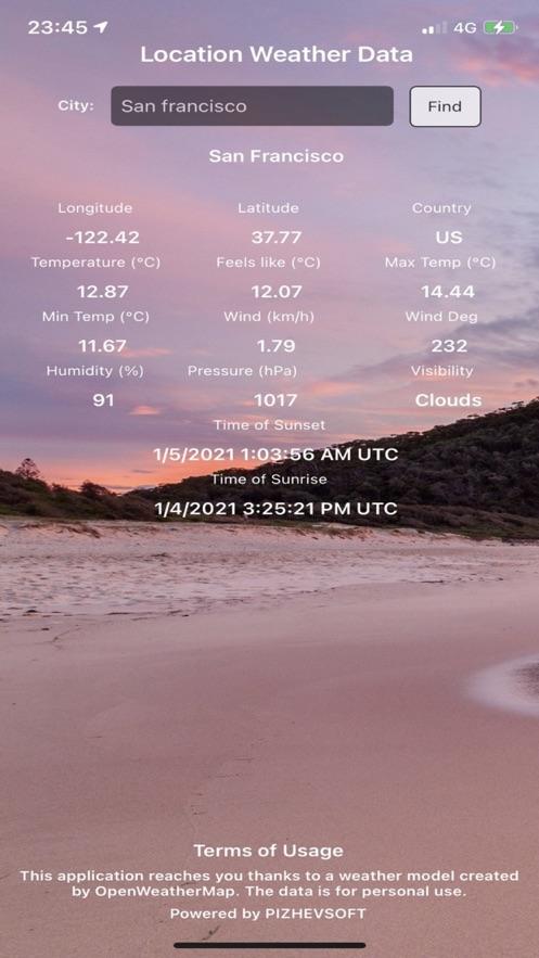 Weather Location Informationapp网络开发