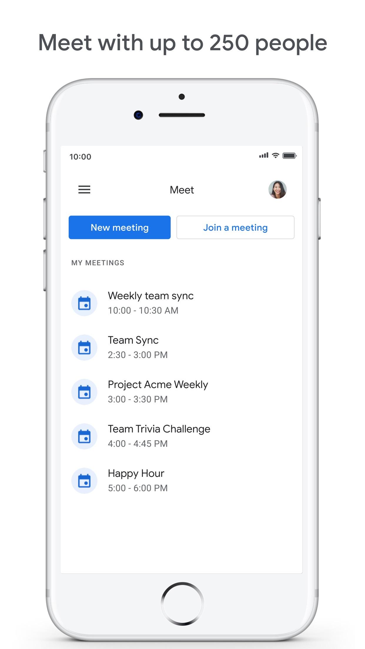 Screenshot do app Google Meet