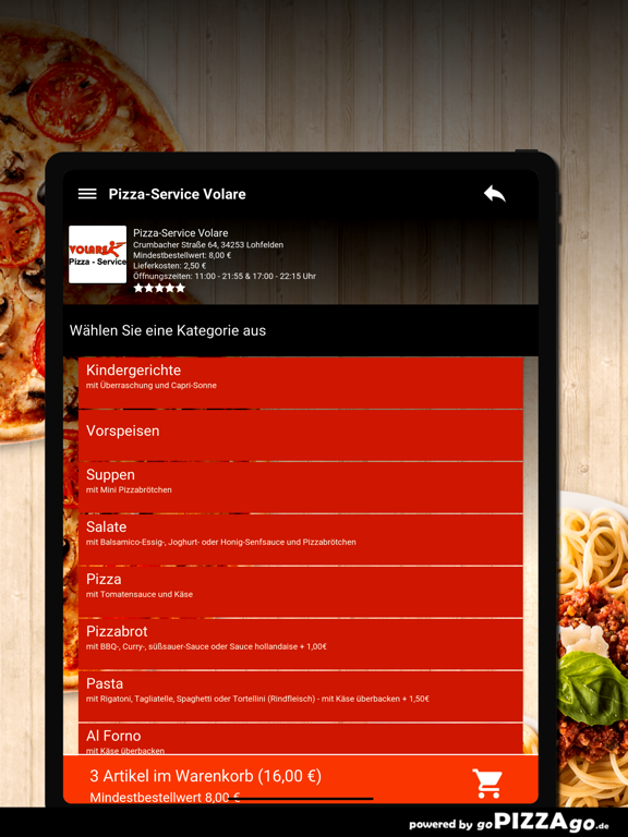 Pizza-Service Volare Lohfelden screenshot 8