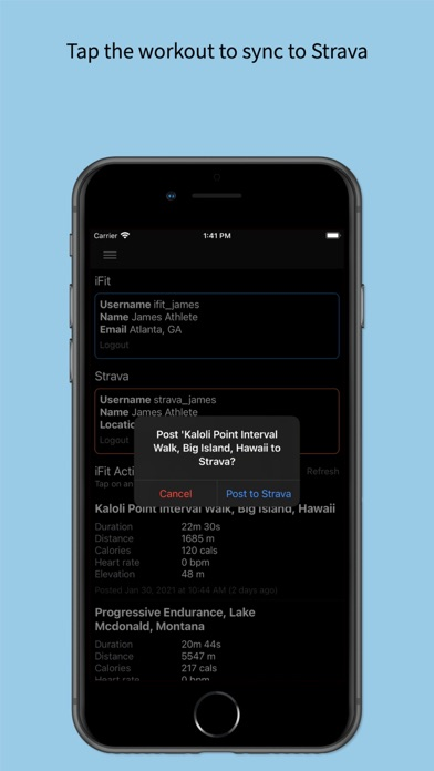 Screenshot of Fitness Sync App