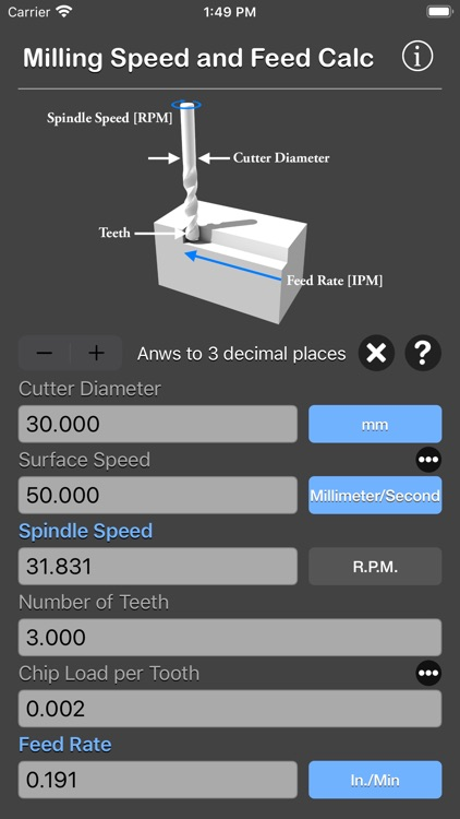 Milling Speed and Feed Calc screenshot-6