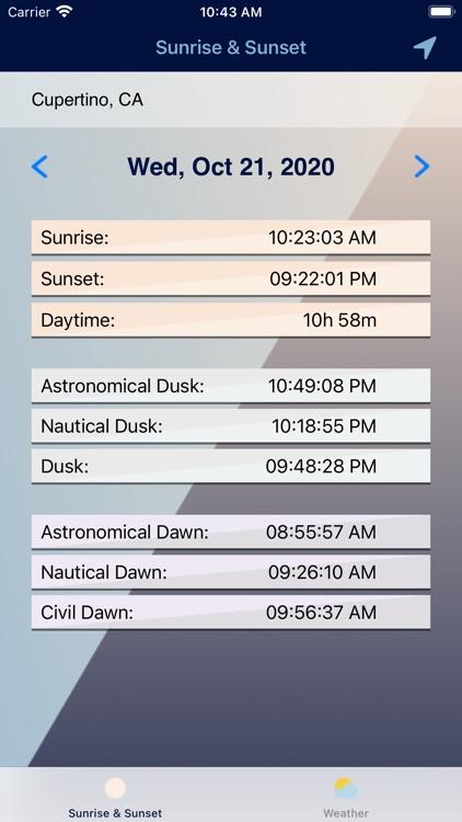 Sunrise & Sunset Times