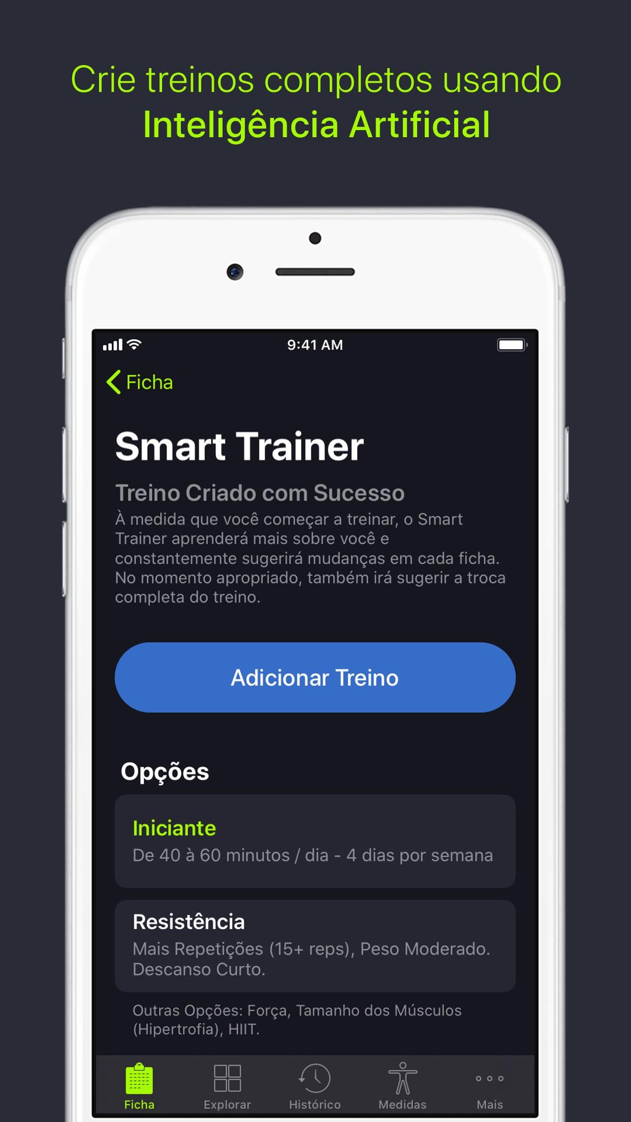 Screenshot do app SmartGym: com Treinos em Casa