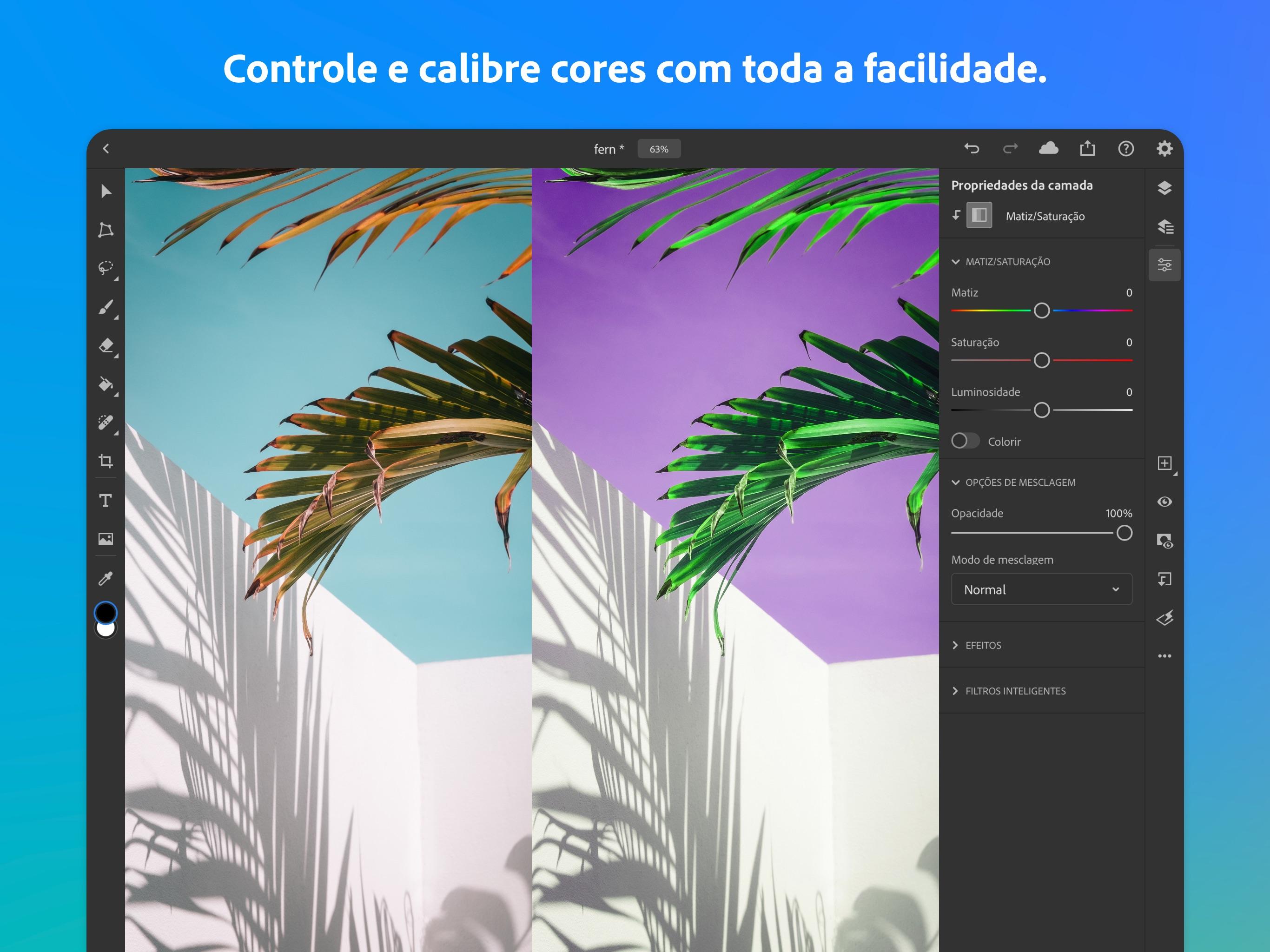 Screenshot do app Adobe Photoshop