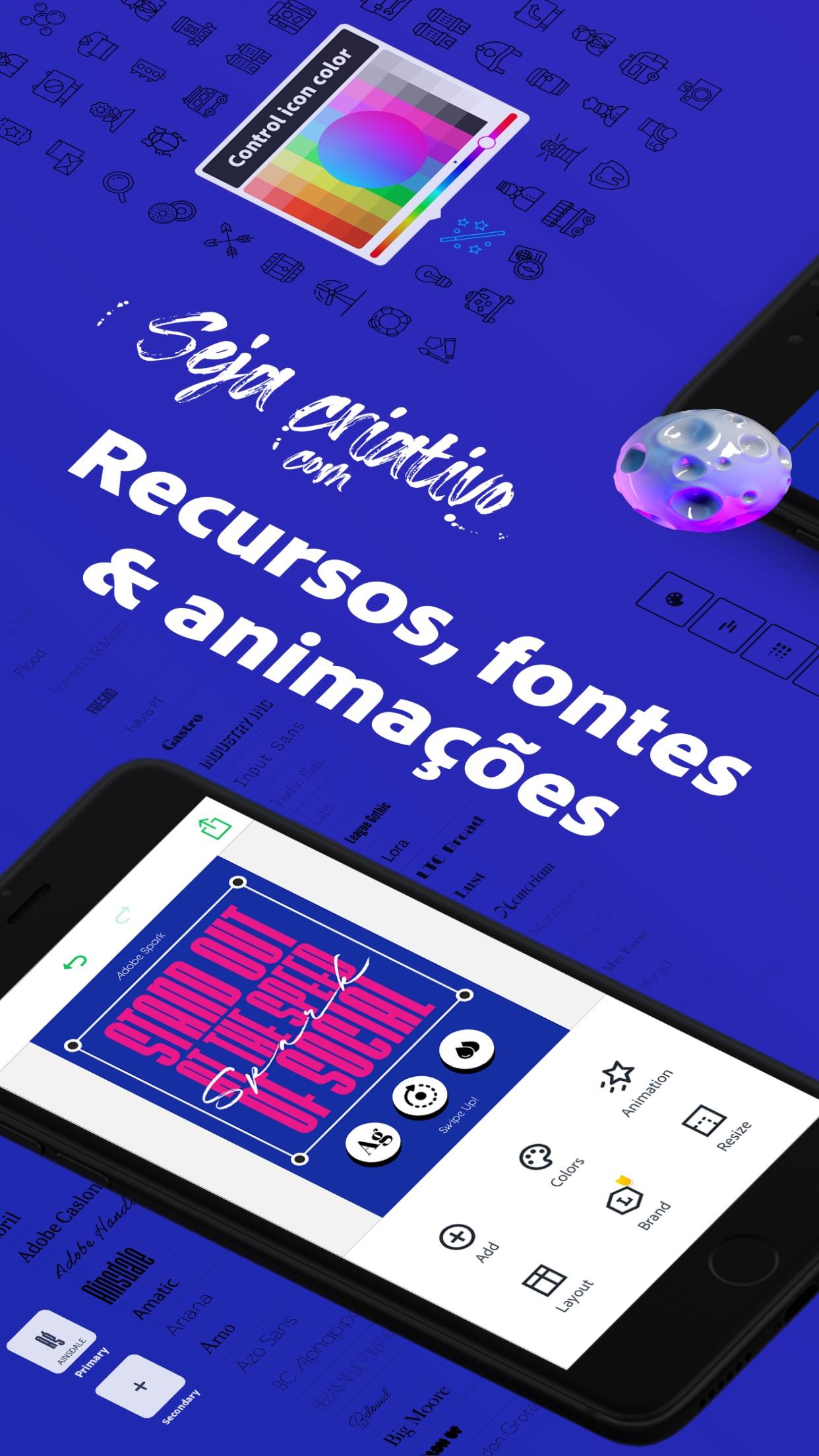 Screenshot do app Adobe Spark Post: Criar Design